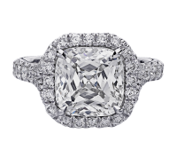 This images shows the setting with a 2.00 carat cushion cut center diamond. The setting can be ordered to accomodate any shape/size diamond listed in the setting details section below.