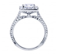 This image shows the setting with a 1.00 carat princess cut center diamond. The setting can be ordered to accommodate any shape/size diamond listed in the setting details section below.