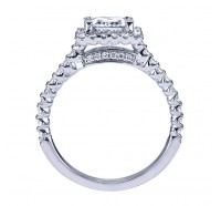 This image shows the setting with a 0.75 carat princess cut center diamond. The setting can be ordered to accommodate any shape/size diamond listed in the setting details section below.
