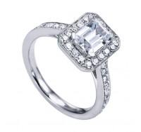 This image shows the setting with a 0.75 carat emerald cut center diamond. The setting can be ordered to accommodate any shape/size diamond listed in the setting details section below.