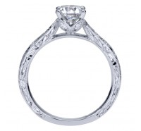 This image shows the setting with a 1.00 carat round brilliant cut center diamond. The setting can be ordered to accommodate any shape/size diamond listed in the setting details section below.