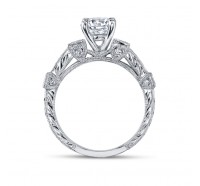 This image shows the setting with a 1.25ct round brilliant cut center diamond.